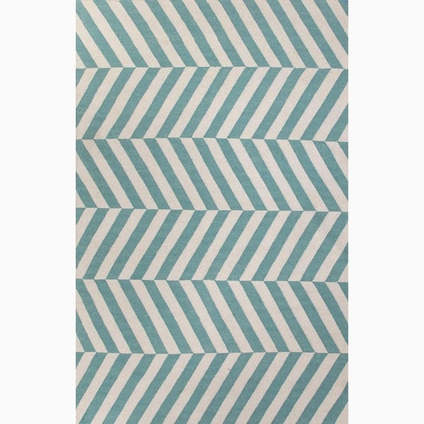 Handmade Stripe Pattern Blue/ Ivory Wool Rug (9 x 12)