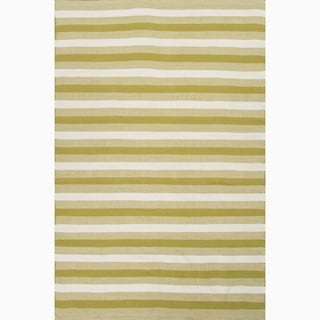Hand-Made Green/ Ivory Polyester Reversible Rug (8x10)