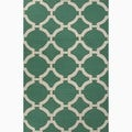 Hand-Made Geometric Pattern Green/ Ivory Wool Rug (2X3)