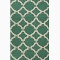 Hand-Made Geometric Pattern Green/ Ivory Wool Rug (8x10)
