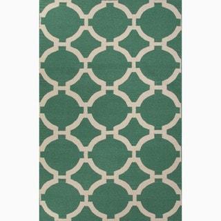 Handmade Geometric Pattern Green/ Ivory Wool Rug (9 x 12)
