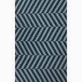 Hand-Made Stripe Pattern Blue Wool Rug (3.6X5.6)