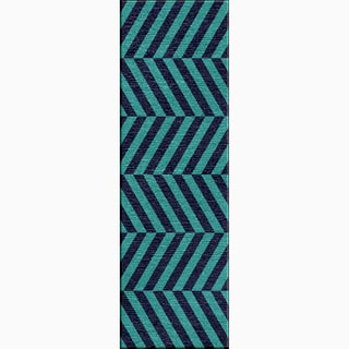 Hand-Made Stripe Pattern Blue Wool Rug (2.6x8)