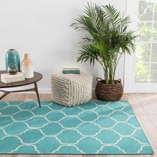 Hand-Made Moroccan Pattern Blue/ Ivory Wool Rug (5X8)