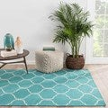 Hand-Made Moroccan Pattern Blue/ Ivory Wool Rug (8x10)