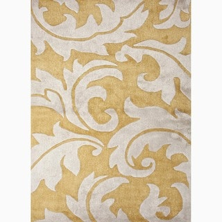 Hand-Made Abstract Pattern Yellow/ Ivory Wool/ Art Silk Rug (9x12)