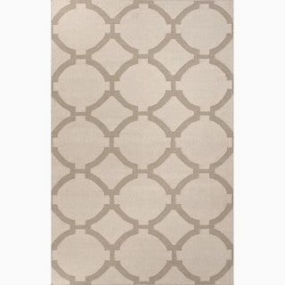 Hand-Made Geometric Pattern Ivory/ Gray Wool Rug (9x12)
