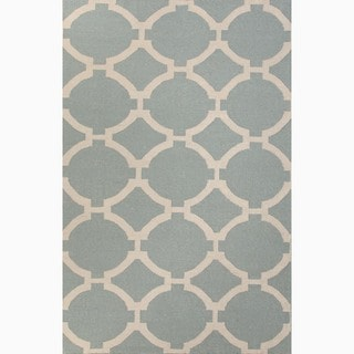 Hand-Made Geometric Pattern Blue/ Ivory Wool Rug (9x12)