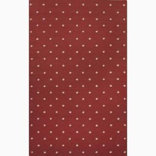 Hand-Made Geometric Pattern Red/ Ivory Wool Rug (8x10)