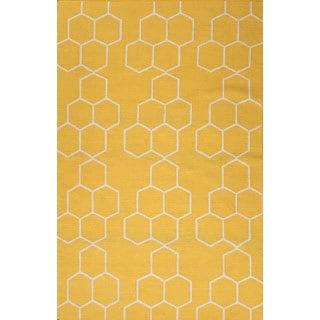 Handmade Geometric Pattern Yellow/ Ivory Wool Rug (9 x 12)