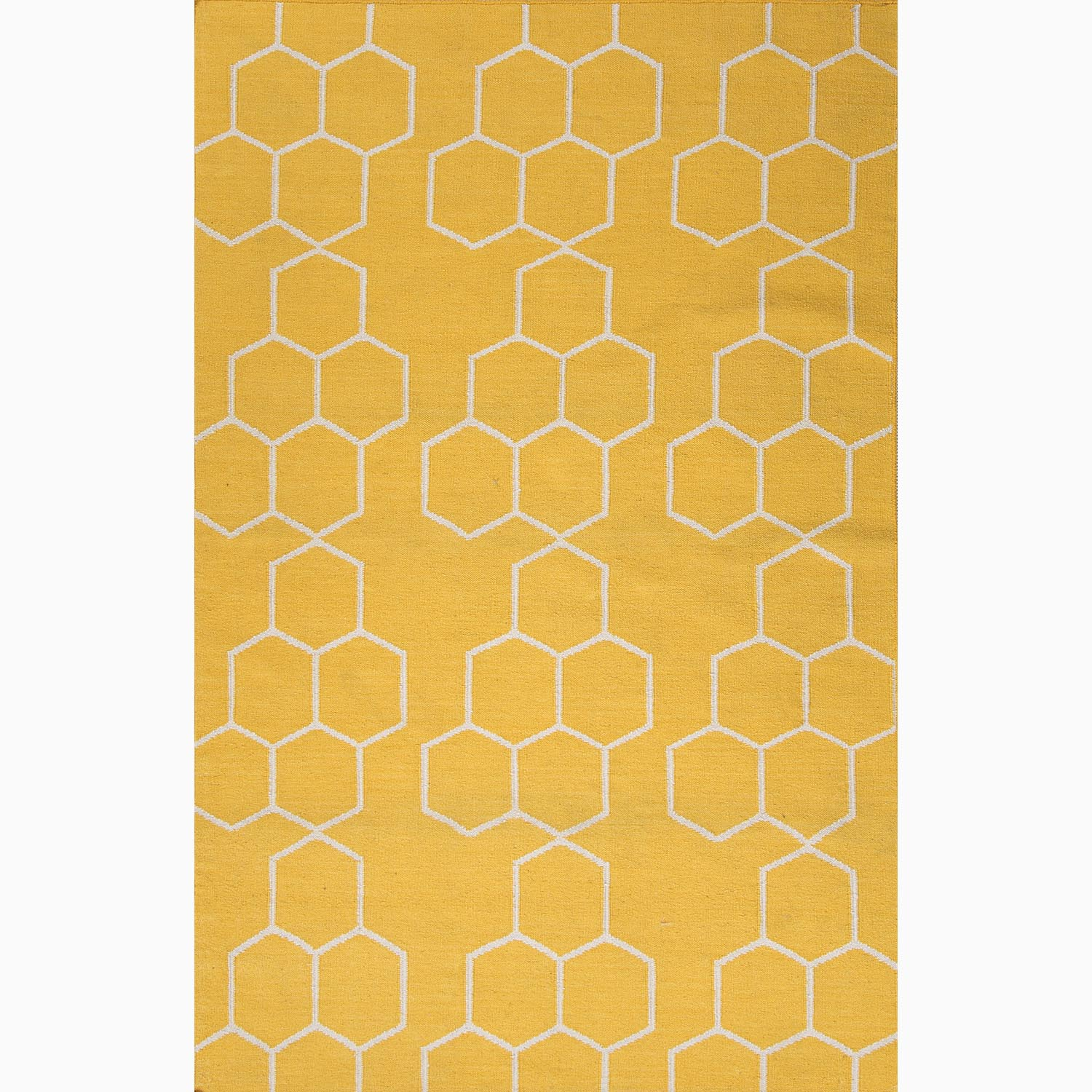 Handmade Geometric Pattern Yellow/ Ivory Wool Rug (3'6 x 5'6)