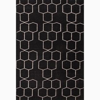 Handmade Geometric Pattern Black/ Ivory Wool Rug (9 x 12)