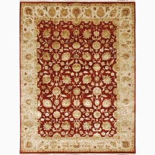 Hand-Made Oriental Pattern Red/ Ivory Wool/ Silk Rug (9x12)