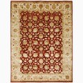 review detail Hand-Made Oriental Pattern Red/ Ivory Wool/ Silk Rug (9x12)