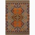 Handmade Orange/ Purple Wool Natural Rug (2 x 3)