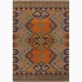 Hand-Made Orange/ Purple Wool Natural Rug (5X8)