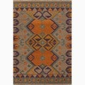 Hand-Made Orange/ Purple Wool Natural Rug (8x10)