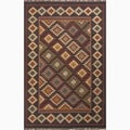 Hand-Made Black/ Multi Jute Reversible Rug (4X6)