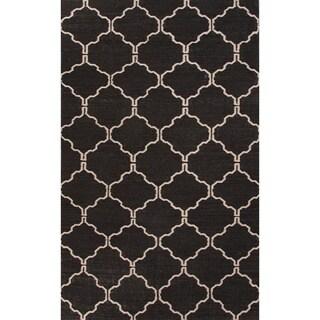 Handmade Moroccan Pattern Black/ Ivory Wool Rug (5 x 8)