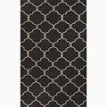 Hand-Made Moroccan Pattern Black/ Ivory Wool Rug (2X3)