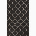Hand-Made Moroccan Pattern Black/ Ivory Wool Rug (8x10)