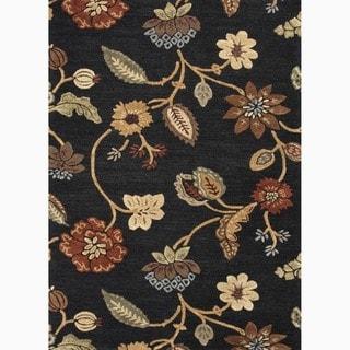 Hand-Made Floral Pattern Black/ Yellow Wool/ Art Silk Rug (9x12)