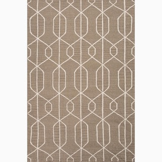 Hand-Made Geometric Pattern Taupe/ Ivory Wool Rug (9x12)