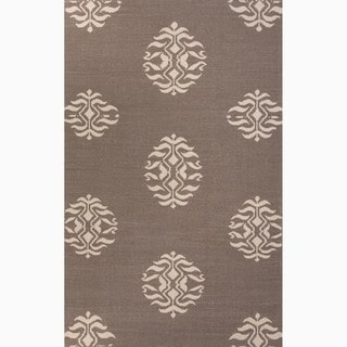 Hand-Made Tribal Pattern Gray/ Ivory Wool Rug (9x12)