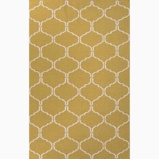 Handmade Moroccan Pattern Green/ Ivory Wool Rug (9 x 12)