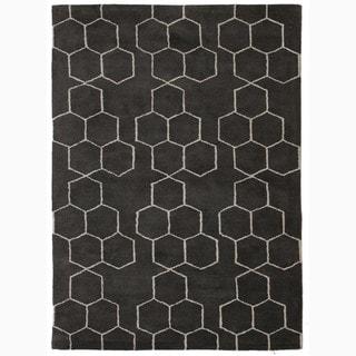 Handmade Gray/ Ivory Wool Plush Pile Rug (9 x 12)