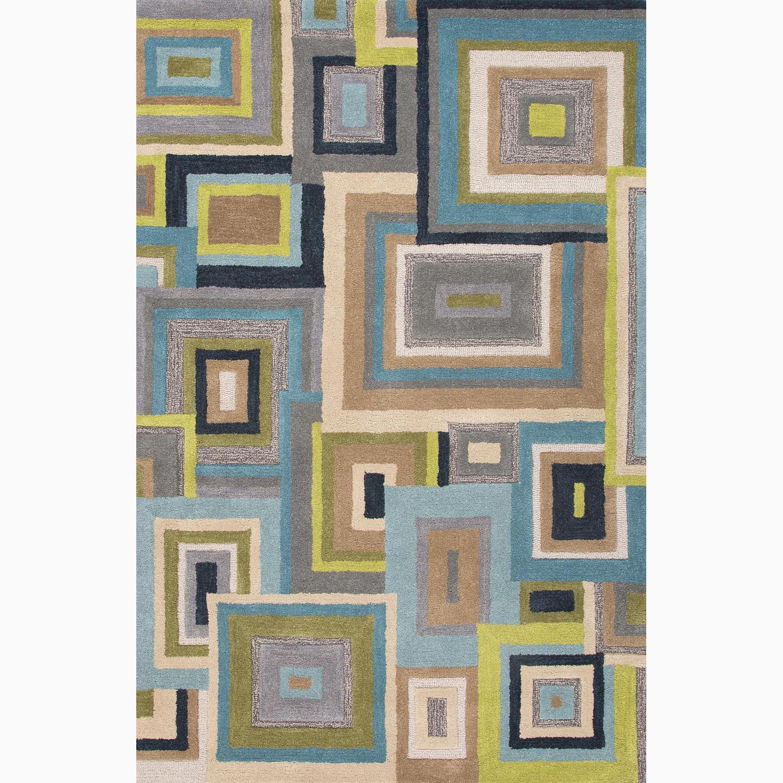 Handmade Blue/ Green Wool Plush Pile Rug (9 x 12)