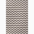 Handmade Easy-care Chevron Gray/ Ivory Wool Area Rug (5' x 8')