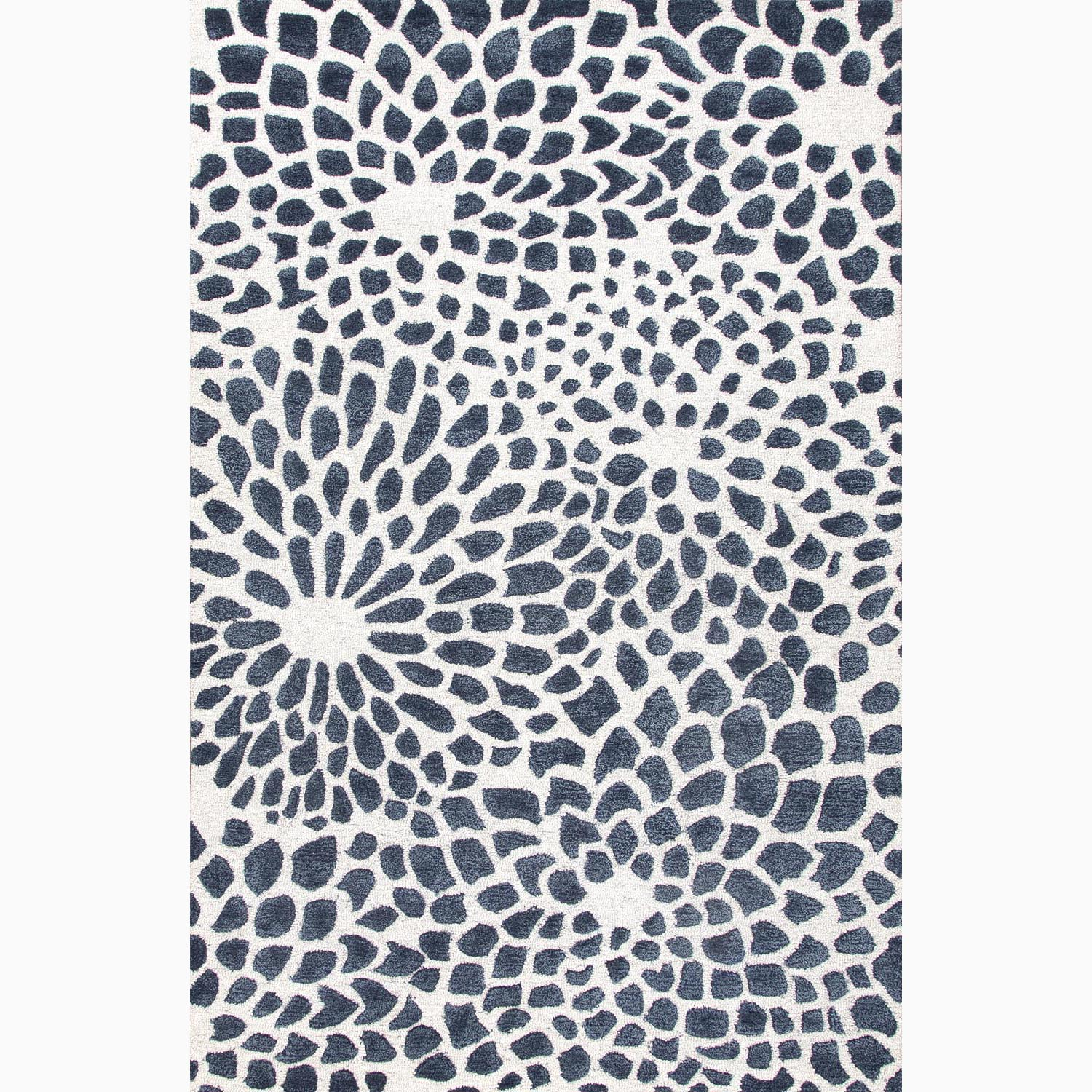 Handmade Ivory/ Blue Wool/ Art Silk Plush Pile Rug (9 x 12)