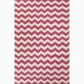 Hand-Made Pink/ Ivory Wool Easy Care Rug (5X8)