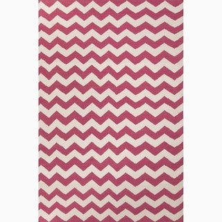Hand-Made Pink/ Ivory Wool Easy Care Rug (9x12)