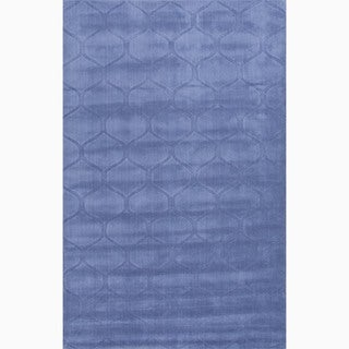Handmade Blue Wool Te x tured Rug (8 x 11)