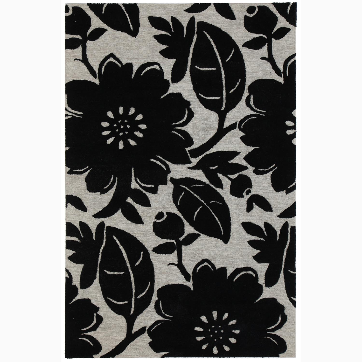 Handmade Black/ Ivory Wool/ Art Silk Plush Pile Rug (9 x 12)