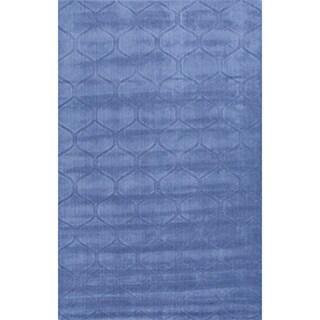 Handmade Blue Wool Te x tured Rug (3'6 x 5'6)