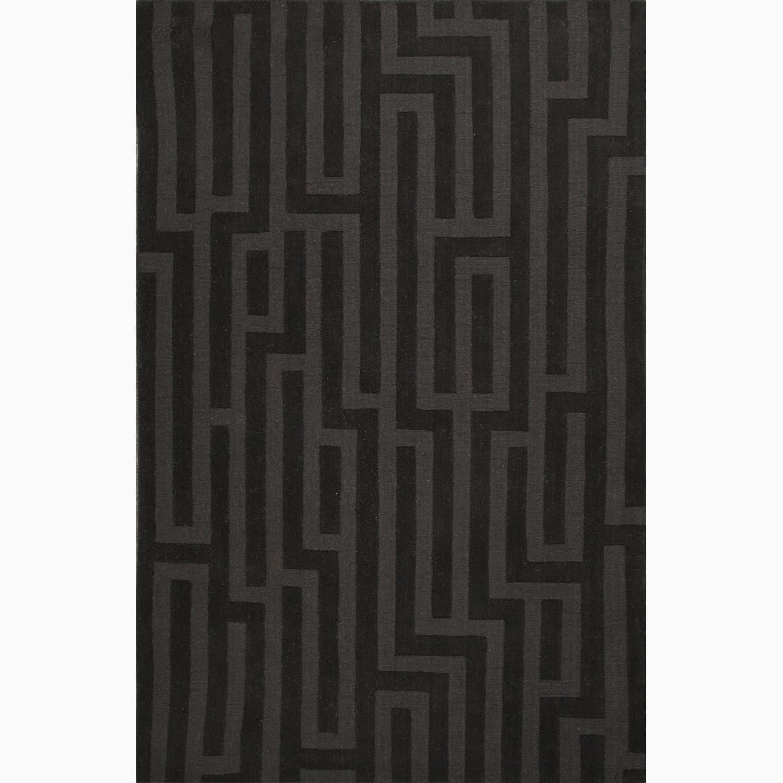 Handmade Black/ Gray Wool Te x tured Rug (8 x 11)