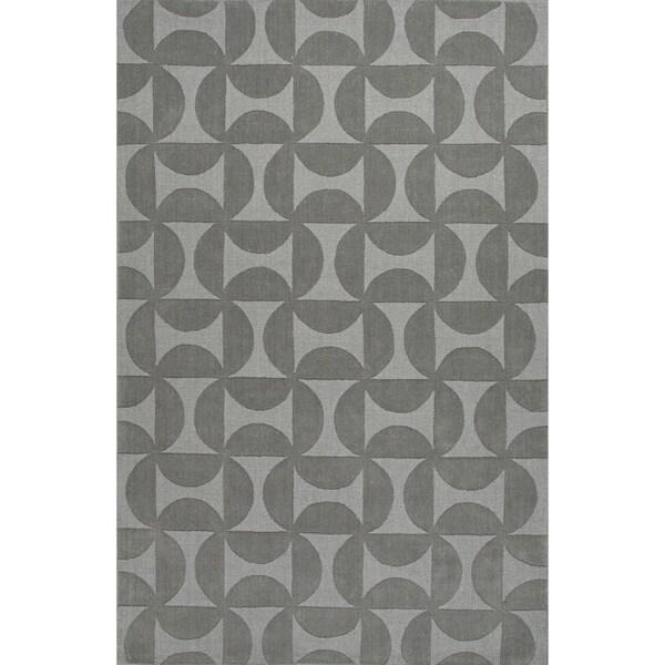 Handmade Gray Wool Te x tured Rug (5 x 8)