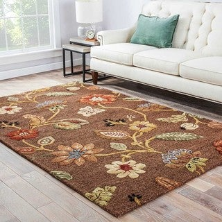 Handmade Floral Pattern Brown/ Yellow Wool/ Art Silk Rug (9 x 12)