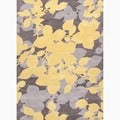 Hand-Made Floral Pattern Yellow/ Gray Wool Rug (8x10)