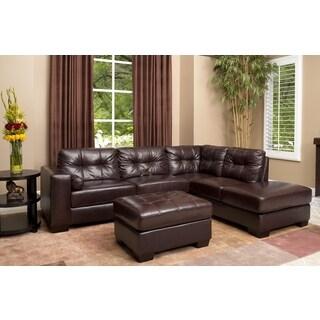 Burgundy Palermo Italian Leather Sectional Sofa and Ottoman Set