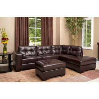 Burgundy Palermo Italian Leather Sectional Sofa and Ottoman Set