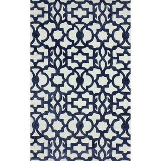 Handmade nuLOOM Marrkesh Moroccan Navy Lattice Wool Rug (7'6 x 9'6)