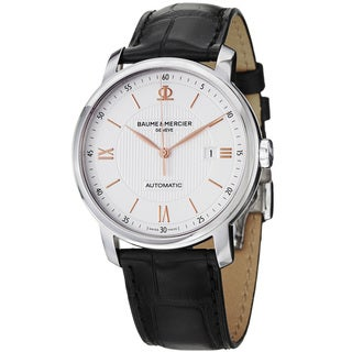 Baume & Mercier Men's 'Classima' Silver Dial Black Leather Strap Watch