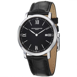 Baume & Mercier Men's 'Classima' Black Dial Black Leather Strap Watch