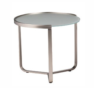 Glass/ Nickel Side Table