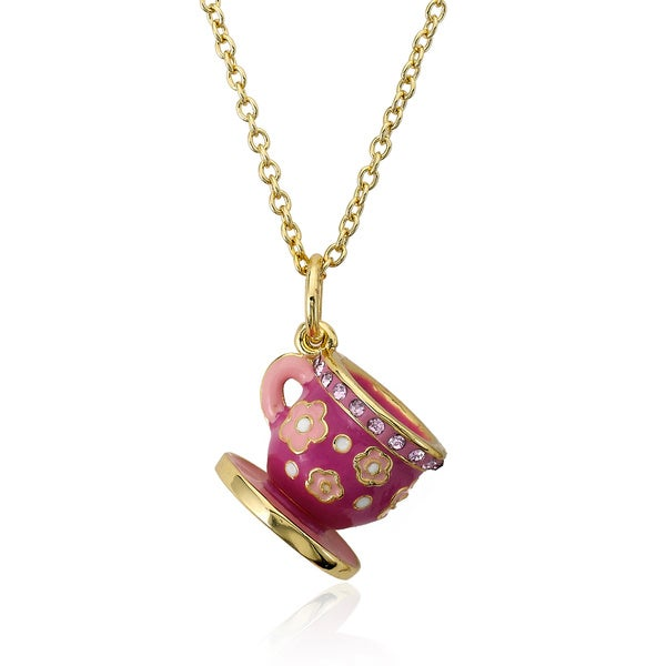 Molly Glitz 14k Gold Plated Pink Enamel Flower Tea Cup Pendant Necklace