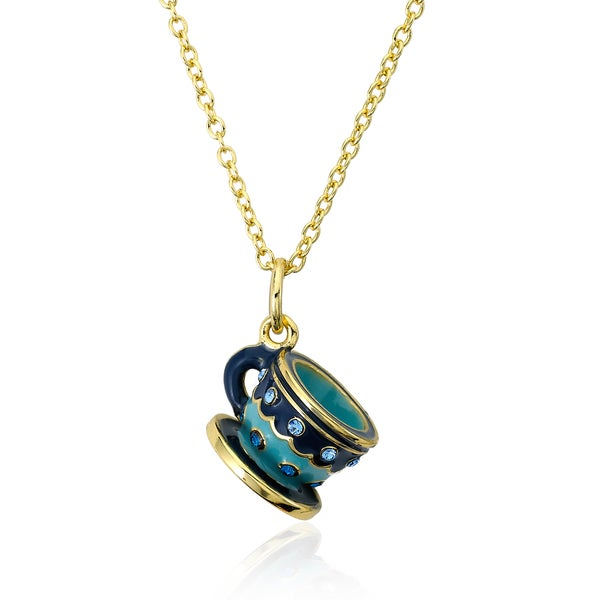 Molly Glitz 14K Gold Plated Blue & Light Blue Enamel Crystal Studded Tea Cup Pendant Necklace